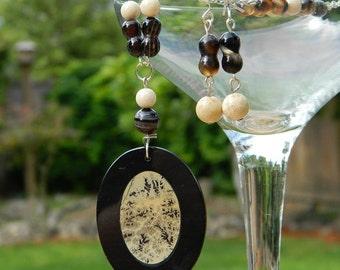 Black Jasper Inlay Pendant Jewelry Set - Brown, Beige, Gemstone, Necklace, Earrings, Earthy, Bohemian