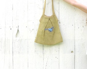 upcycled bag  , shabby chic purse , market tote , bird handbag , eco chic  bohemian purse , repurposed altered one of a kind rustic purse