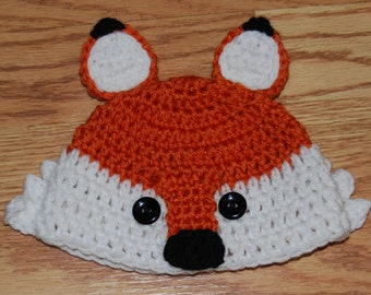"Crochet ""Little Sly Fox"" Hat for Everyday Wear or Photo Prop Size Newborn to 3 month old **FREE SHIPPING**"