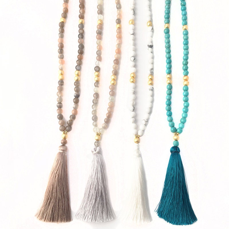 boho beaded tassel necklace long necklace boho jewelry. Black Bedroom Furniture Sets. Home Design Ideas