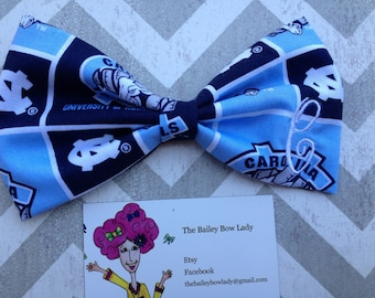 Monogrammed UNC Fabric Hair Bow