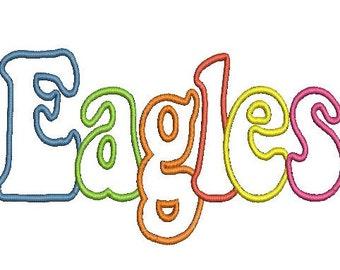 Eagles Applique Embroidery Design (44) Instant Download