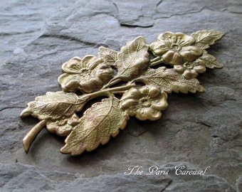 oxidized brass stamping branch of flowers floral leaf leaves art nouveau repousse jewelry supply embellishment finding vintage style