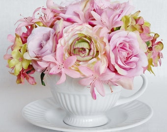Teacup Silk Floral Arrangement, Pink Roses, Pink & Green Ranunculus, White Teacup and Saucer, Artificial Flower Arrangement, Home Decor,