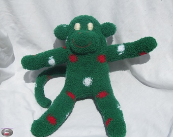 Fuzzy Sock Monkey Green Polka Dot Soft Plush Christmas Doll Handmade
