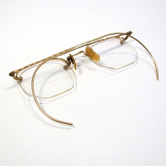 Rimless Eyeglass Frames With Cable Temples : RESERVED FOR NEIL 1930s Eyeglasses Gold Filled