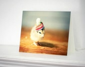 Chicken Greeting Card Chick in Rainbow Hat Stationary Baby Animals