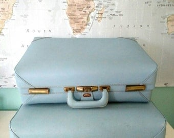 Suitcases : Vintage / Set / Pair / Olympic / Blue