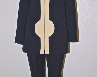 60s Mod Pierre Cardin Space Age Jacket and Pants / Navy and Cream Pantsuit / Rare 1960s 1970s Pierre Cardin Tunic and Pants Set