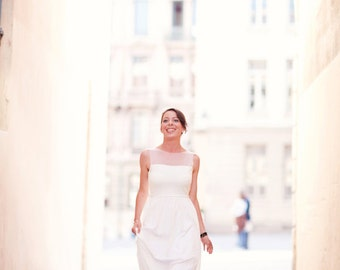 Ivory Illusion Neckline Destination Wedding Dress UK 8/10