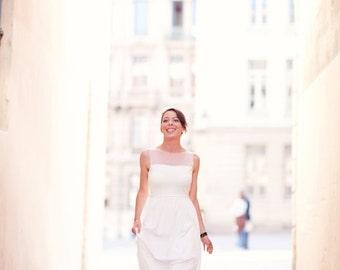 Ivory Illusion Neckline Destination Wedding Dress UK 8/10