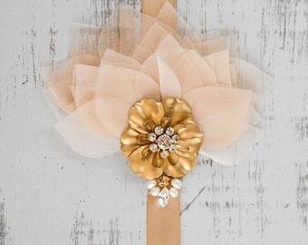 Gold bridal headpiece, organza wedding headpiece, crystal headpiece, champagne organza petals and swarovski crystal adorned satin headband