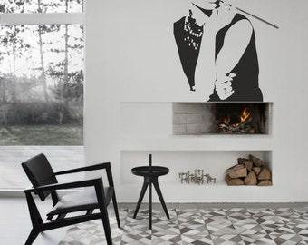 Audrey Hepburn vinyl wall decal Breakfast at Tiffany's art for your personal bedroom, playroom, livingroom modern decor (ID: 131063)