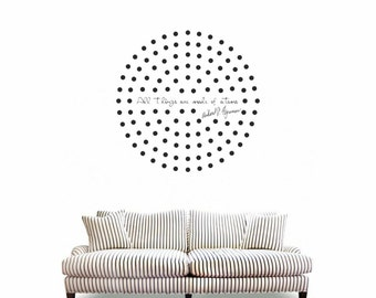 Science art - Richard Feynman quote and a cloud of atoms vinyl wall decal minimal geometric art for your scientific decor (ID: 121071)