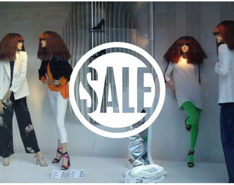 Sale sign Shop Window decal easy to paste or remove - shop window display - ask us for custom decals (ID: 131050)