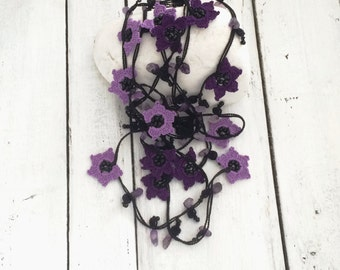 Dark Purple and Lavender Flowers Oya Crochet Necklace Beaded Lariat Jewellery Beadwork ReddApple, Fast Delivery