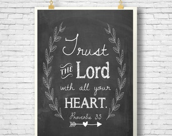 Bible Verse, Scripture Printable, Scripture art, Chalkboard, Trust in the LORD with all your heart, Proverbs 3:5, Instant Download