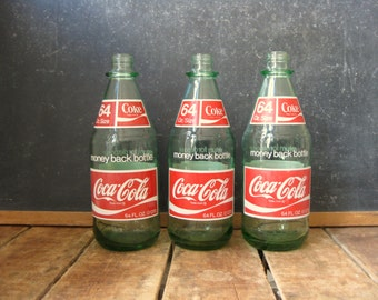 Vintage Coke Bottle, 1970s Coca Cola Bottle, 64 oz Coke Bottle, Heavy Green Glass Coca Cola Bottle, Wide Mouth, Priced Individually