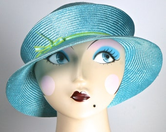 Parasisal Straw Aqua Turquoise  Womens Hat,  PACKABLE Straw Hat,  Summer Straw Cloche Hat