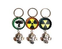 Fallout Gas Mask Keychain, Bottle Cap, Nuclear, Atomic, Atom, Radiation Symbol, Mushroom Cloud, Fallout Shelter Symbol, Goth, Emo, Punk