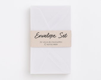 White Mini-Envelopes with Notecards. Constructed of translucent vellum.  Set of 20.