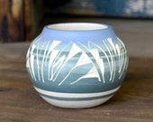 Boho Chic Tribal Navajo Handmade Etchware Art Pottery Vase - Blue & Olive Striped, Etched White Design - Native American Artifact Souvenir