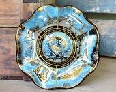 New York NY World's Fair 1964-1965 Smoked Glass Ruffle Plate - Unique Retro Souvenir Dish of Exhibitions - Vintage Home Decor