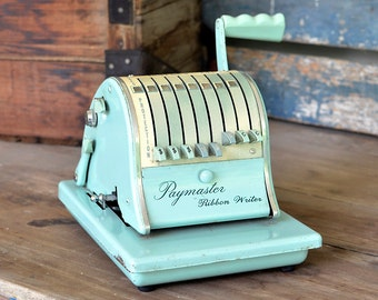 Paymaster Ribbon Writer Series 8000 Check Machine - Aqua Blue, Mid-Century Industrial Chic Home Decor Collectible - Office Supply