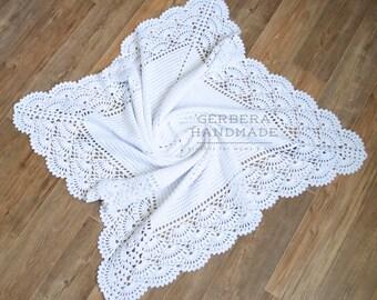 WHITE Baby blanket / Crochet baby blanket/ Baby blanket/ Cotton blanket/ Christening Baby blanket/ Baby wrap blanket/ throw blanket