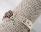 Faith Blooms Here - Hand Stamped Cuff Bracelet - Flower, Crystal & Cross Charm - Brass Bangle