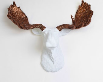 Faux Moose Head  - The Doris White w/Bronze Glitter Antlers Resin Moose Head Wall Mount -  Moose By White Faux Taxidermy- Chic Wall Decor