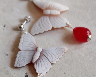 The smell of the Spring-925 sterling silver earrings with authentic shell cameos on Sardonyx top quality shell-Butterfly shape-Ruby Jade