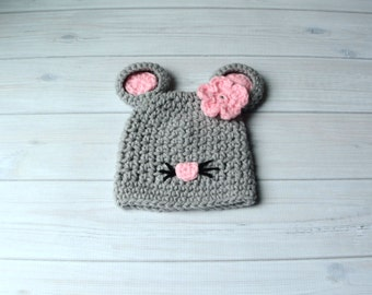 Baby Mouse Hat,  Baby Animal Hat, Crochet Mouse Hat, Baby Girl Hat, Newborn Girl Hat