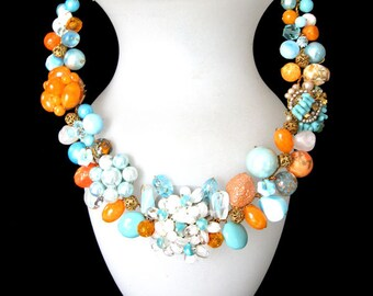 FREE SHIPPING to US. Aqua & Orange Statement Necklace designed from vintage components to compliment all your summer fashions.