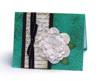 White Tattered Rose Note Card Turquoise Anniversary Card Vintage Inspired Embossed Romantic card, white Rose Birthday, French Script Love