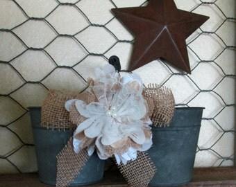 Flower Girl Bucket - Burlap Wedding Basket - Rustic Wedding Basket - Wedding Pail- Wedding Bucket~ Flower Girl- Barn Wedding - Beach Wedding