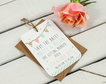 Pastel bunting save the date - gem peach mint