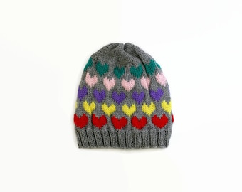 Heart Hat-Bright Multi-Colored Slouchy Hat-Red, Yellow, Purple, Pink, Teal