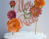 Personalized Bride and Groom cake topper with paper flowers