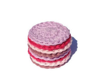 8 crochet cotton face scrubbies - use like cotton balls - face cloths - skin care cloths - eco friendly-cotton yarn-face cleanser pads.