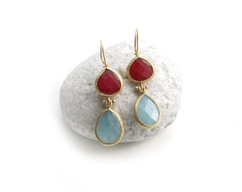 Cherry Red and Light Blue Jade Stone Hook Gold Plated Earrings
