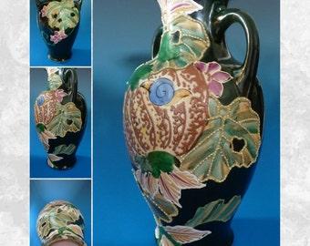 Antique german hand painted porcelain plaque plates with for Repousse amaryllis