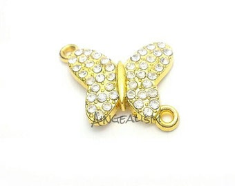 Gold Tone Butterfly Connector Charm - Animal Connector Charm - Gold With Crystal Rhinestones