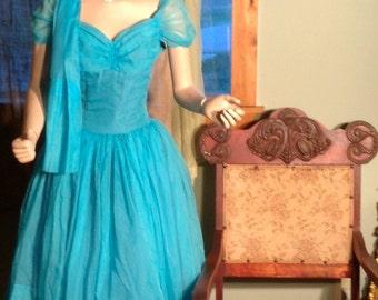 50s 60s Grecian ocean blue goddess pouf party prom dress