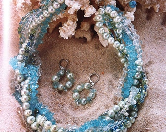 Pearls of the Sea Twisted Necklace and Earrings