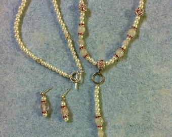 Rose Quartz and Pearls Necklace and Earrings