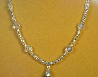 "Super FLASHY 17-1/2"" Swaroski Crystal Pendant Necklace - N404"