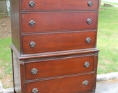 Solid Mahogany Vintage Tall Dresser - Choose Your Paint Color