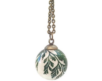 fern necklace - leaf necklace - fern orb resin jewelry - real fern - vial necklace - nature lovers gift - real plant vial - delicate jewelry
