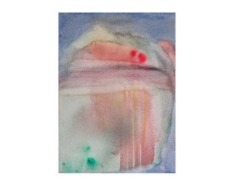 """Echo of a Thought. Watercolor painting Original abstract art Minimal artwork in red green and blue 4.5""""x6"""" Imaginary landscape Bright colors"""